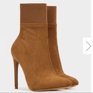 Morgan Camel Suede Booties - Atlanta Shoe Studio