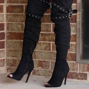 Asia OTK Thigh High Peep Toe Belted Stiletto Boots- Black