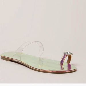 Allie Rhinestone Single Toe Sandals- Pink - Atlanta Shoe Studio