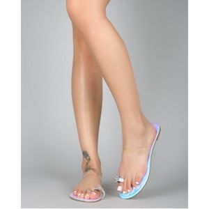 Allie Rhinestone Single Toe Sandals- Iridescent - Atlanta Shoe Studio