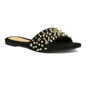 Carly Black Spiked Sandals - Atlanta Shoe Studio