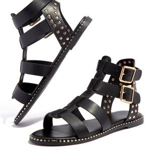 Monica Gladiator Sandals-Black - Atlanta Shoe Studio