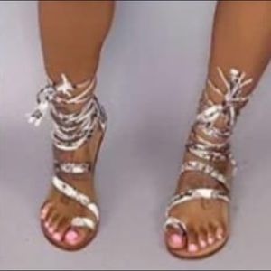 Natalie Snakeskin Single Toe Sandals - Atlanta Shoe Studio
