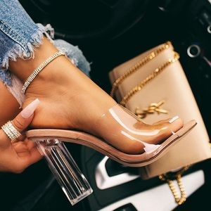 Savannah Nude Clear Mule Heels.