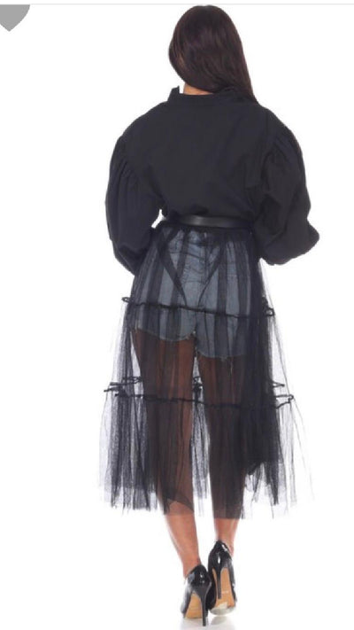 Button Front Tulle Top- Black - Atlanta Shoe Studio