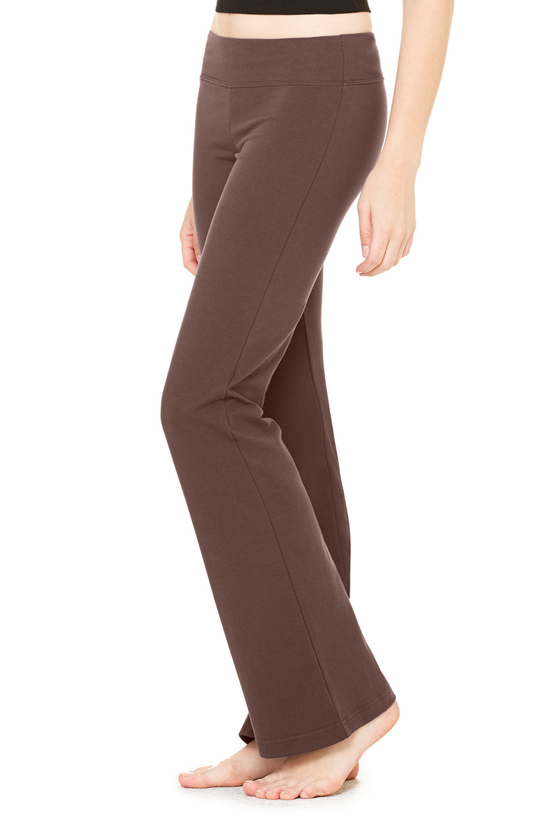 WOMEN'S COTTON SPANDEX FITNESS PANT-BROWN
