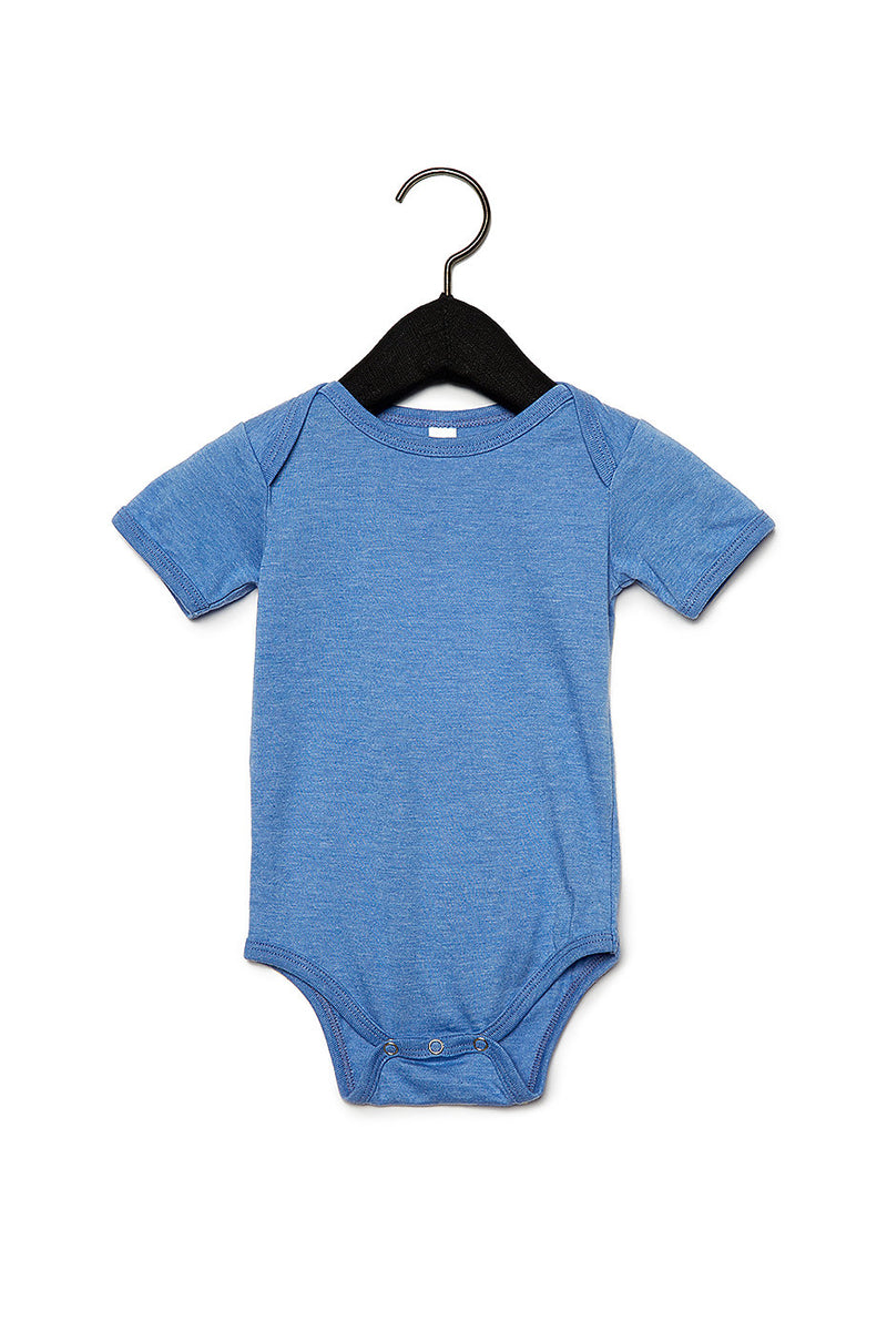 BABY JERSEY SHORT SLEEVE ONE PIECE-HEATHER COLUMBIA BLUE