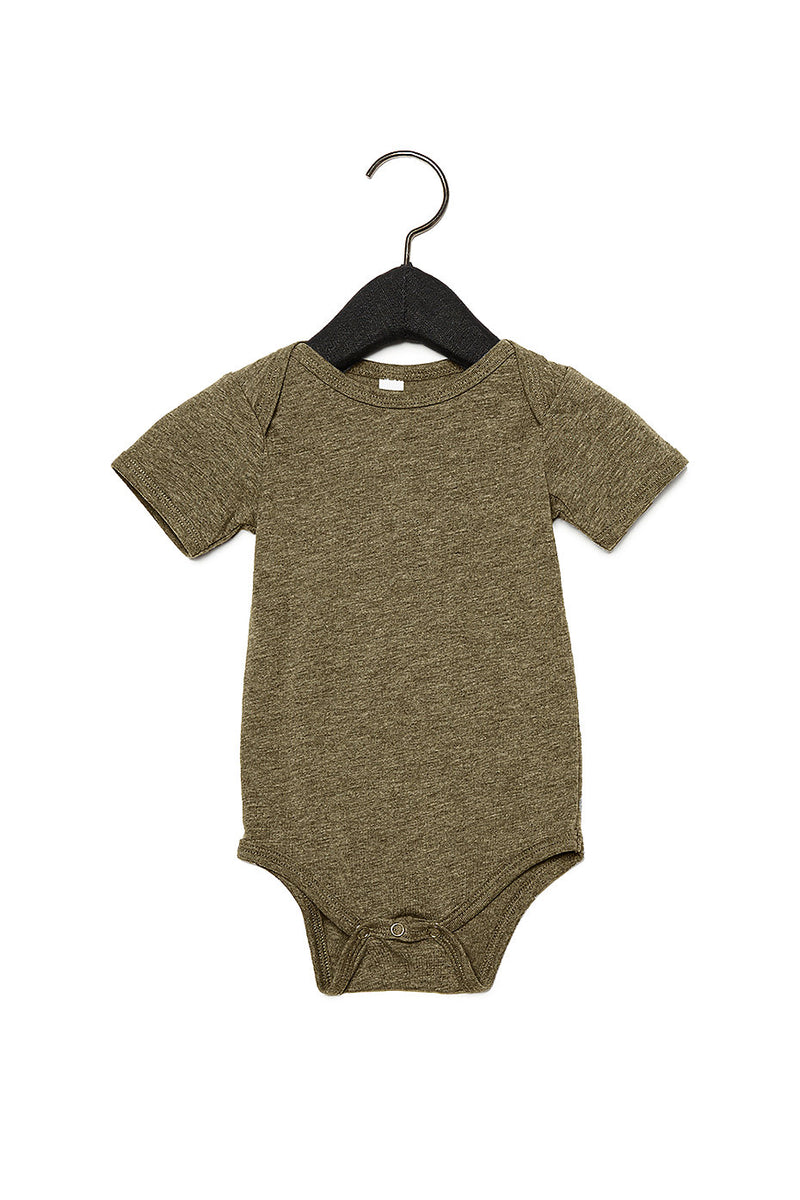 BABY TRIBLEND SHORT SLEEVE ONE PIECE-OLIVE TRIBLEND
