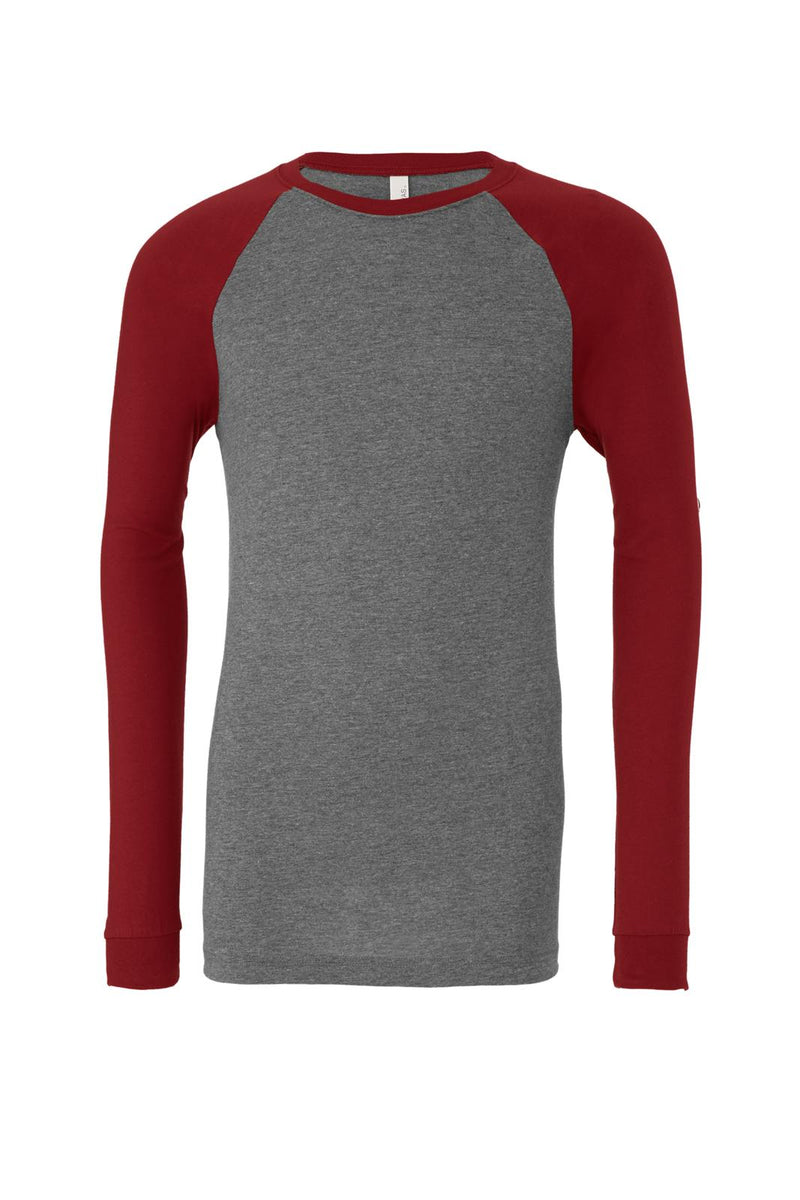 LONG SLEEVE BASEBALL TEE-Deep Heather Cardinal