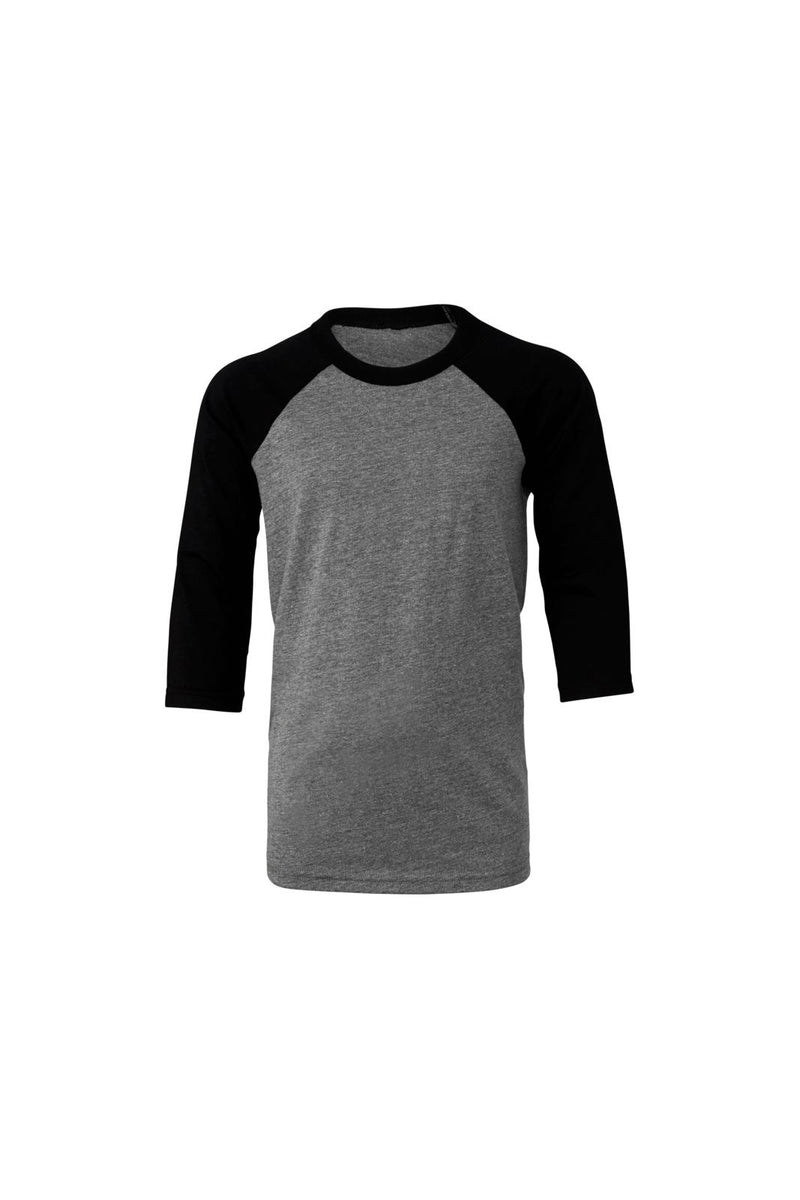 YOUTH 3/4 SLEEVE BASEBALL TEE-DEEP HEATHER/BLACK