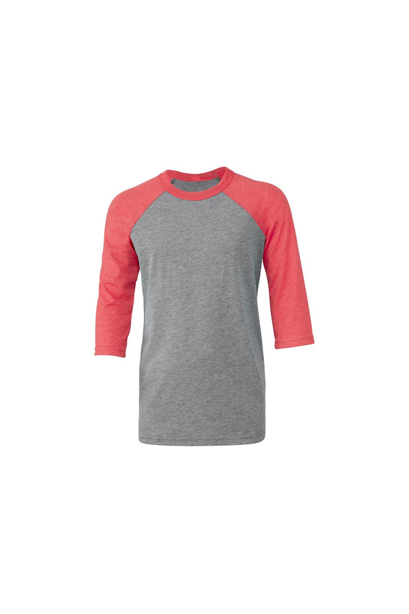 YOUTH 3/4 SLEEVE BASEBALL TEE-GREY/RED TRIBLEND