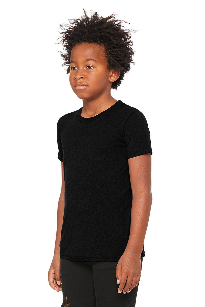 YOUTH TRIBLEND SHORT SLEEVE TEE-SOLID BLACK TRIBLEND