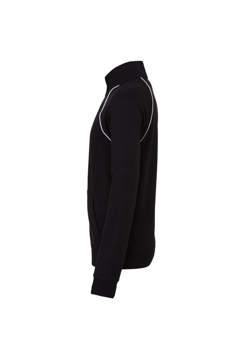 MEN'S PIPED FLEECE JACKET-BLACK/WHITE