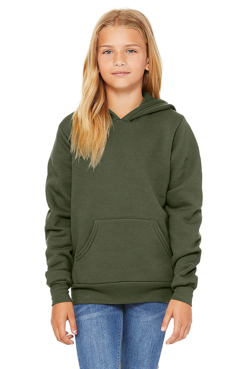 YOUTH SPONGE FLEECE PULLOVER HOODIE-MILITARY GREEN