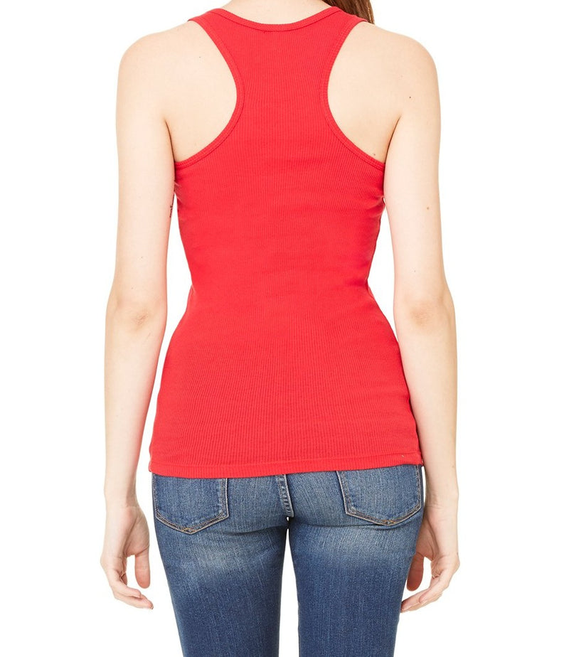 WOMEN'S 2X1 RIB RACERBACK LONGER LENGTH TANK-RED