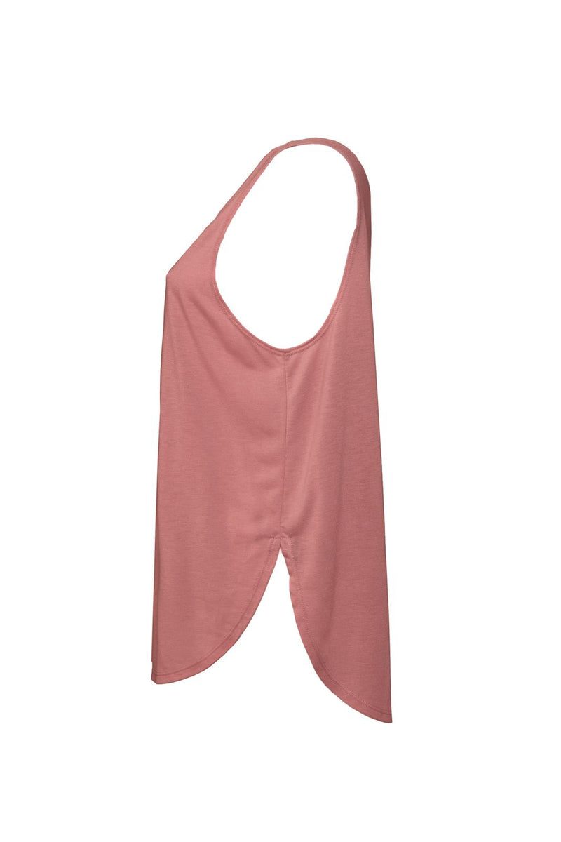 WOMEN'S FLOWY SIDE SLIT TANK-MAUVE