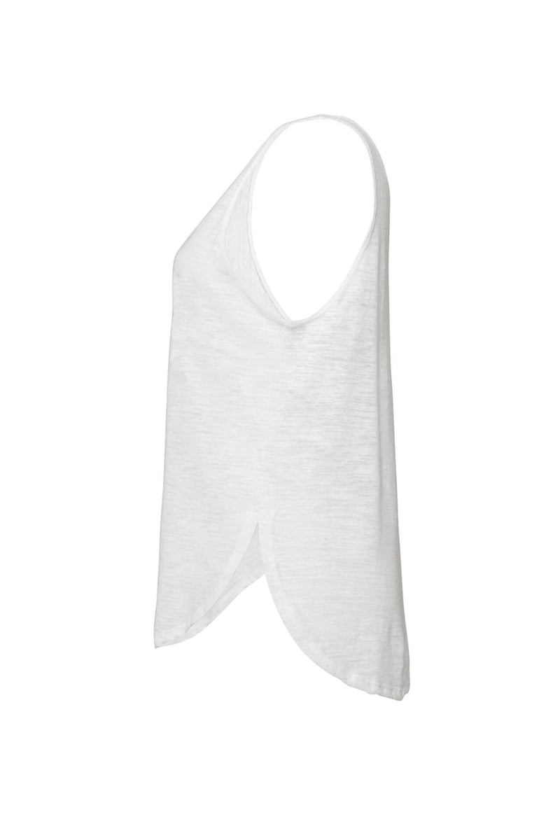 WOMEN'S FLOWY SIDE SLIT TANK-WHITE SLUB