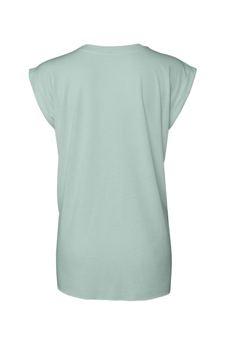 WOMEN'S FLOWY MUSCLE TEE WITH ROLLED CUFF-DUSTY BLUE