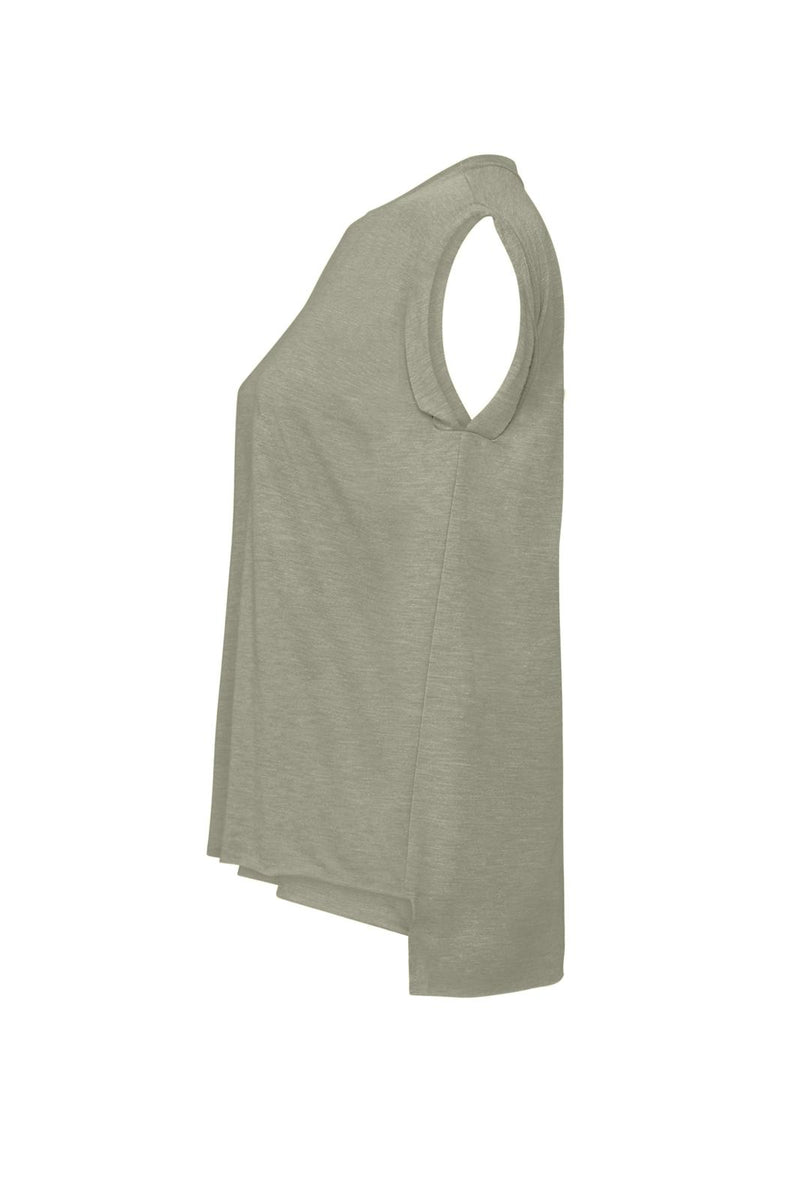 WOMEN'S FLOWY MUSCLE TEE WITH ROLLED CUFF-HEATHER STONE