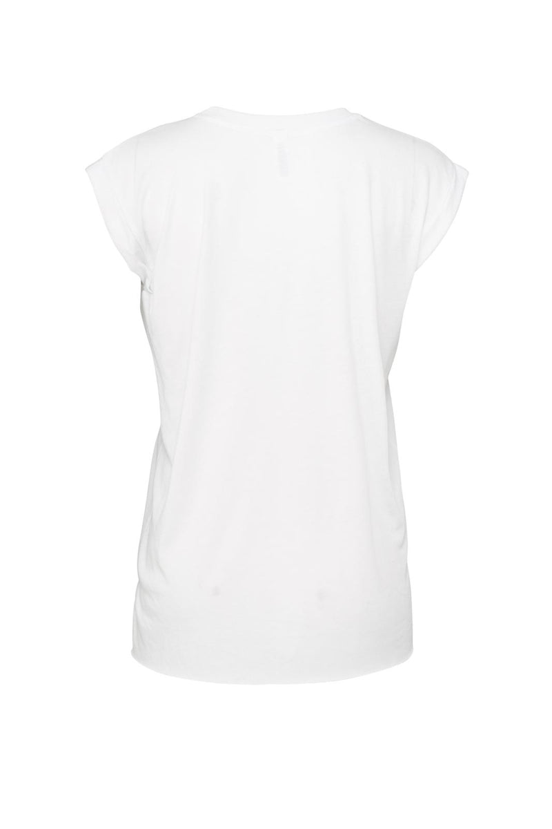 WOMEN'S FLOWY MUSCLE TEE WITH ROLLED CUFF-WHITE