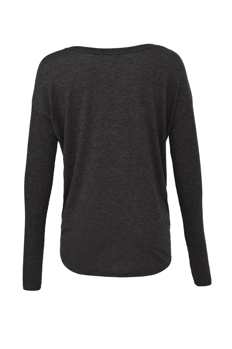WOMEN'S FLOWY LONG SLEEVE TEE W/ 2X1 SLEEVES-DARK GREY HEATHER