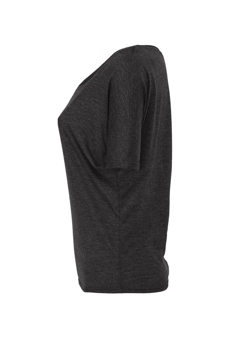 WOMEN'S FLOWY OPEN BACK TEE-DARK GREY HEATHER