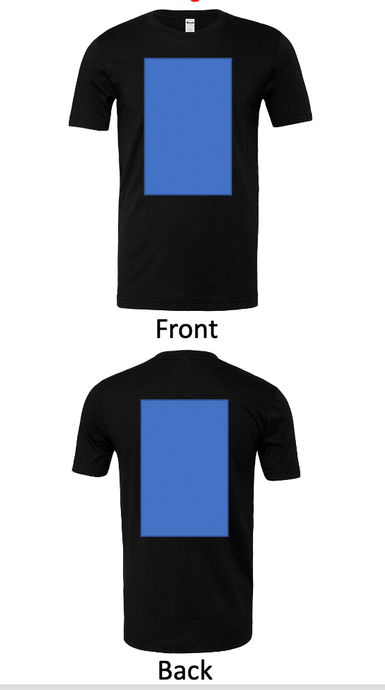 + $7 DTG: Front, Back, No Left Sleeve, No Right Sleeve