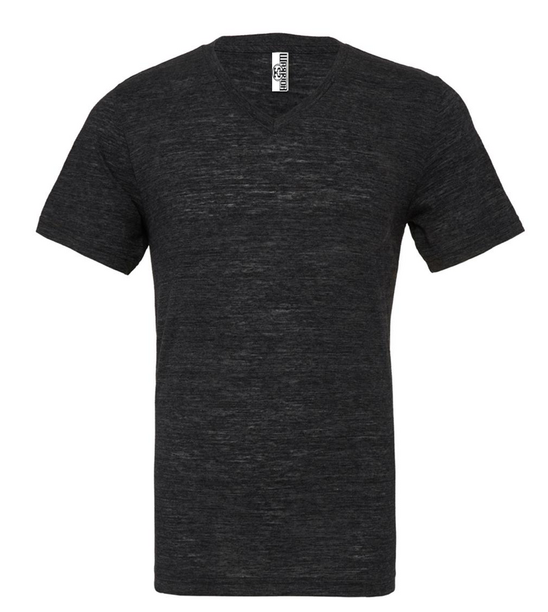 UNISEX JERSEY SHORT SLEEVE V-NECK TEE - Charcoal Black Slub