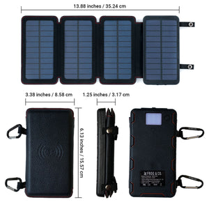 QUADRAPRO 5.5 WATT PORTABLE SOLAR WIRELESS PHONE CHARGER W/ 6,500MAH DUAL USB POWER BANK