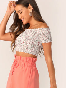 women's summer party top festival ditsy print floral crop front