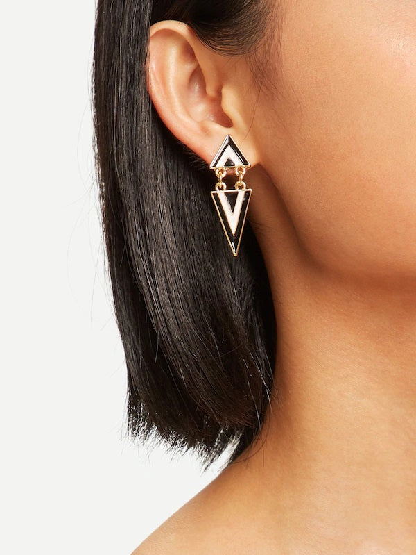 Triangle Drop Mono Earrings-Women's Accessories-Nell and Pop-Nell and Pop