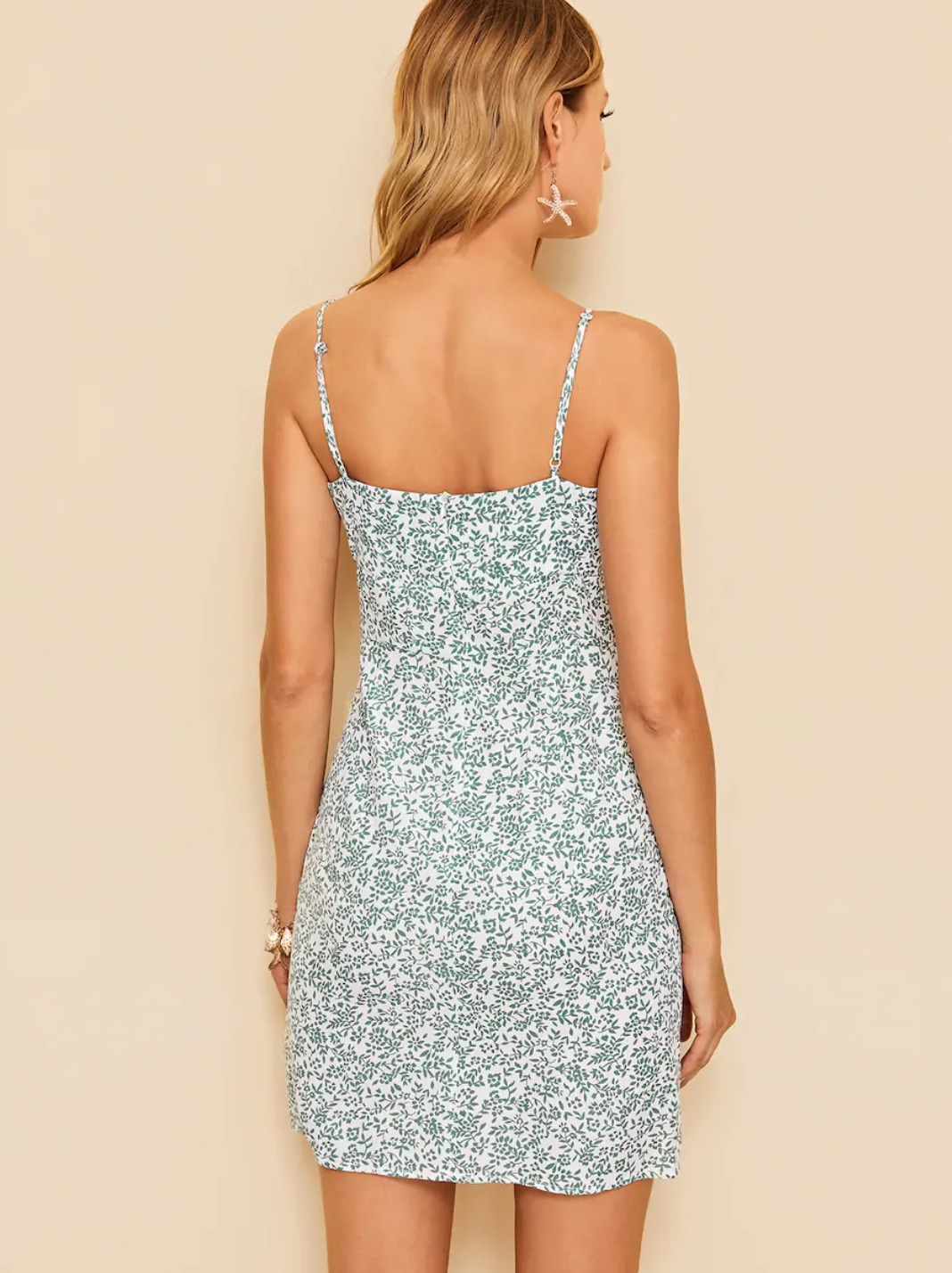 Leaf Print Knot Dress