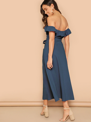 Frill Off The Shoulder Midi In Navy