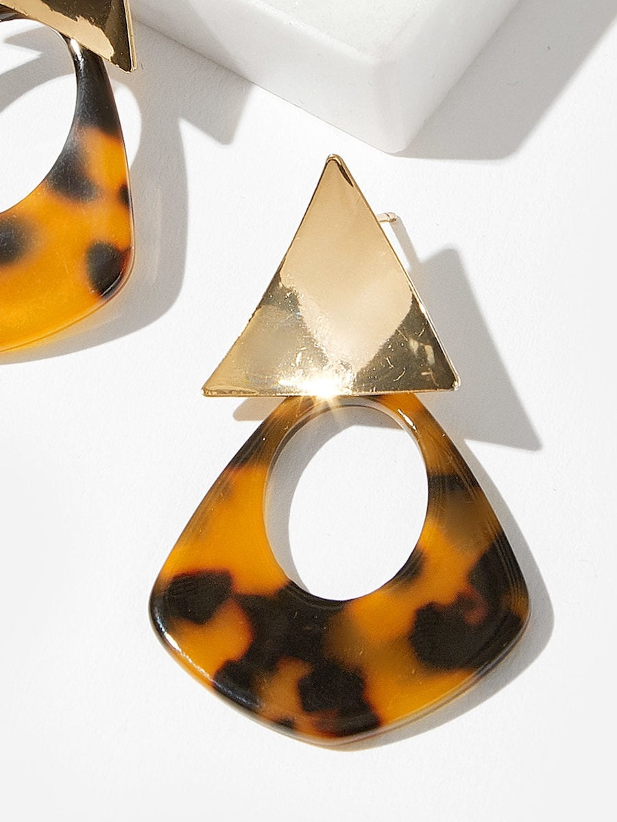 Tortoiseshell Drop Earrings Nell And Pop Triangle brown fashion front