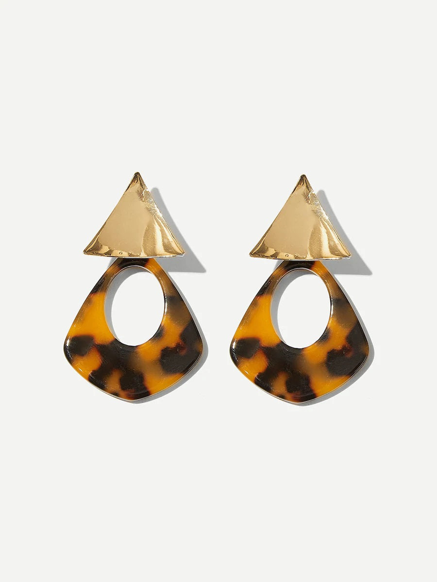 Tortoiseshell Drop Earrings Nell And Pop Triangle brown fashion womens