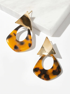 Tortoiseshell Drop Earrings Nell And Pop Triangle brown fashion womens accessories