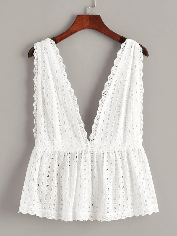 White broidery womens top lace islet plunge backless front