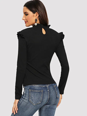 nell and pop black womens ruffle frill cotton long sleeve tshirt high neck back