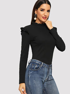 nell and pop black womens ruffle frill cotton long sleeve tshirt high neck tee