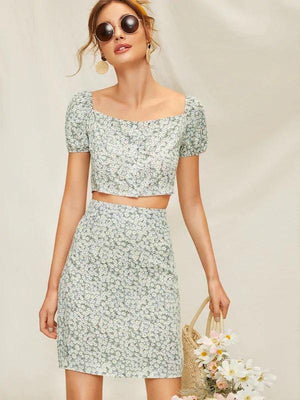 Calico Co-ord-All Women's-Nell and Pop-Nell and Pop summer light front clothing