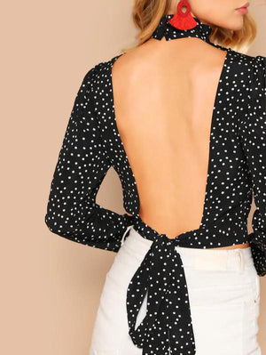 Dotty Crop Women's black pola top Nell and Pop low back knot tie high neck back low