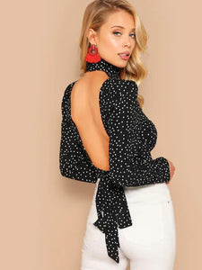 Dotty Crop Women's black pola top Nell and Pop low back knot tie back