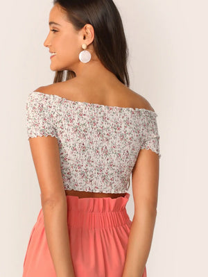 women's summer party top festival ditsy print floral crop back