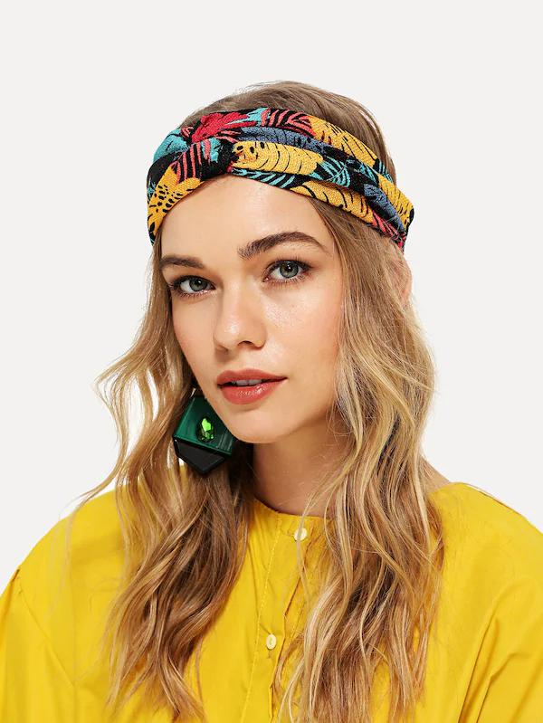 Nell and pop jungle print womens multicoloured festival head band front