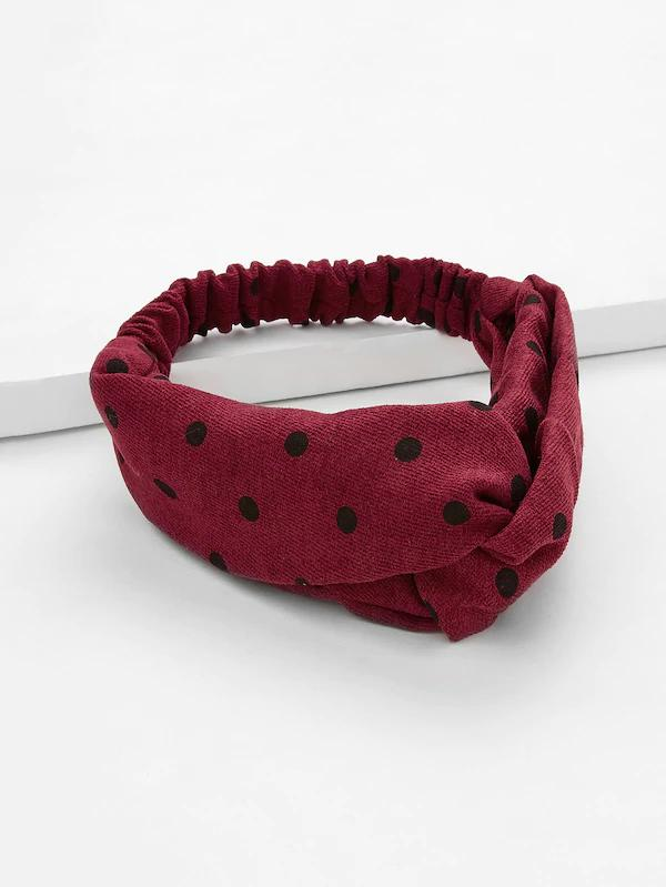 Buy womens headband polka dotty rag red burgundy black top