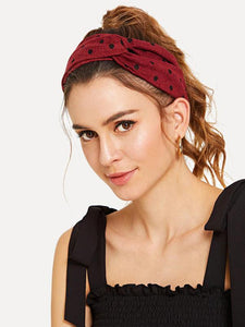 Buy womens headband polka dotty rag red burgundy black front
