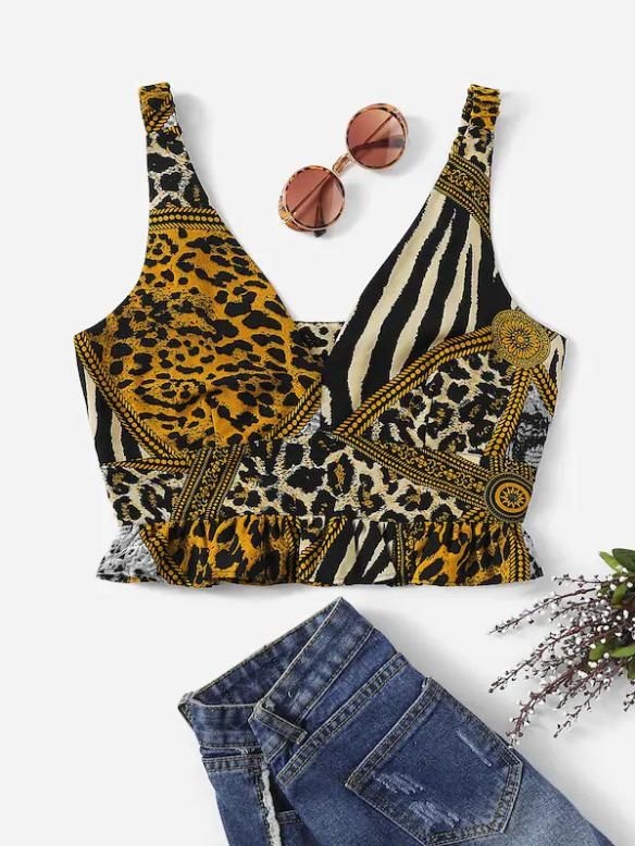 Jungle Crop Nell and Pop zebra leopard summer vest festival front