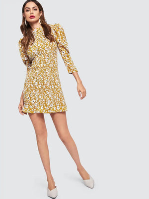 Miss Molly Ruffle Nell and Pop womens mustard summer party dress item