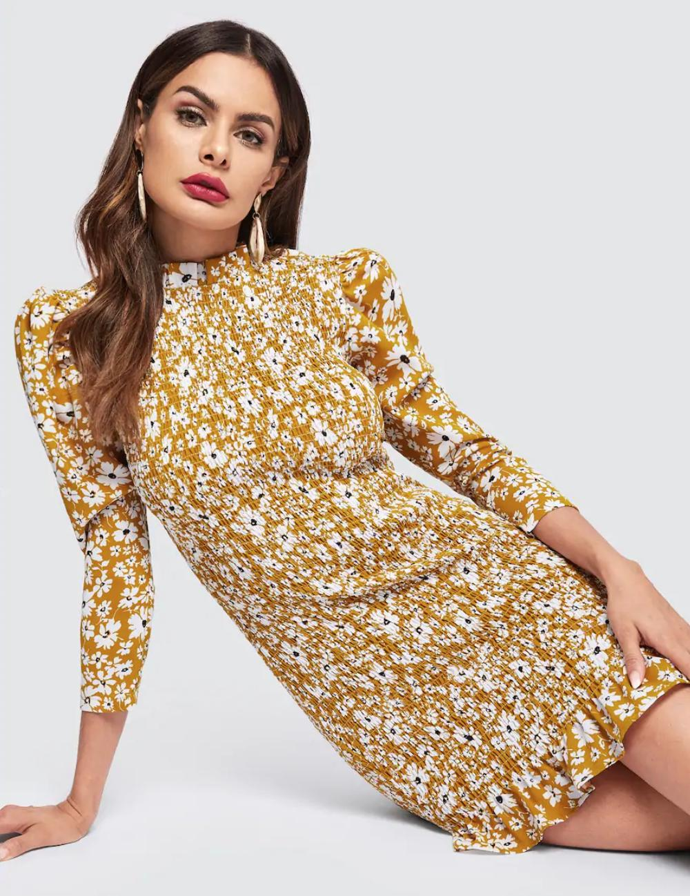 Miss Molly Ruffle Nell and Pop womens mustard summer party dress front