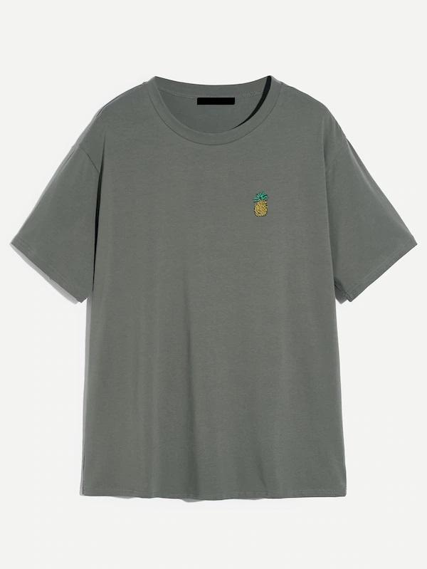 buy mens pineapple logo grey green tee tshirt nell and pop front